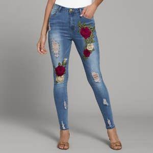 Floral Applique Jeans